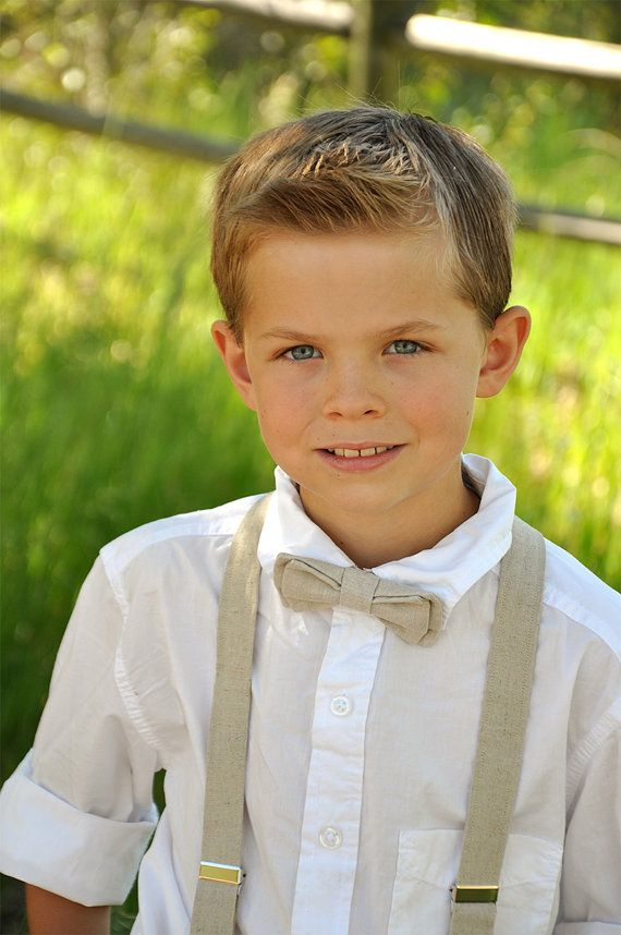 Boys Linen Pre-Tied Bow Tie and Suspenders