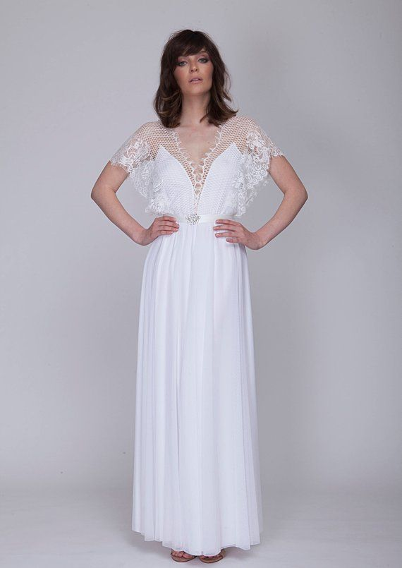 Wedding Dress With Beautiful Unique Lace Top And Short Sleeves Open