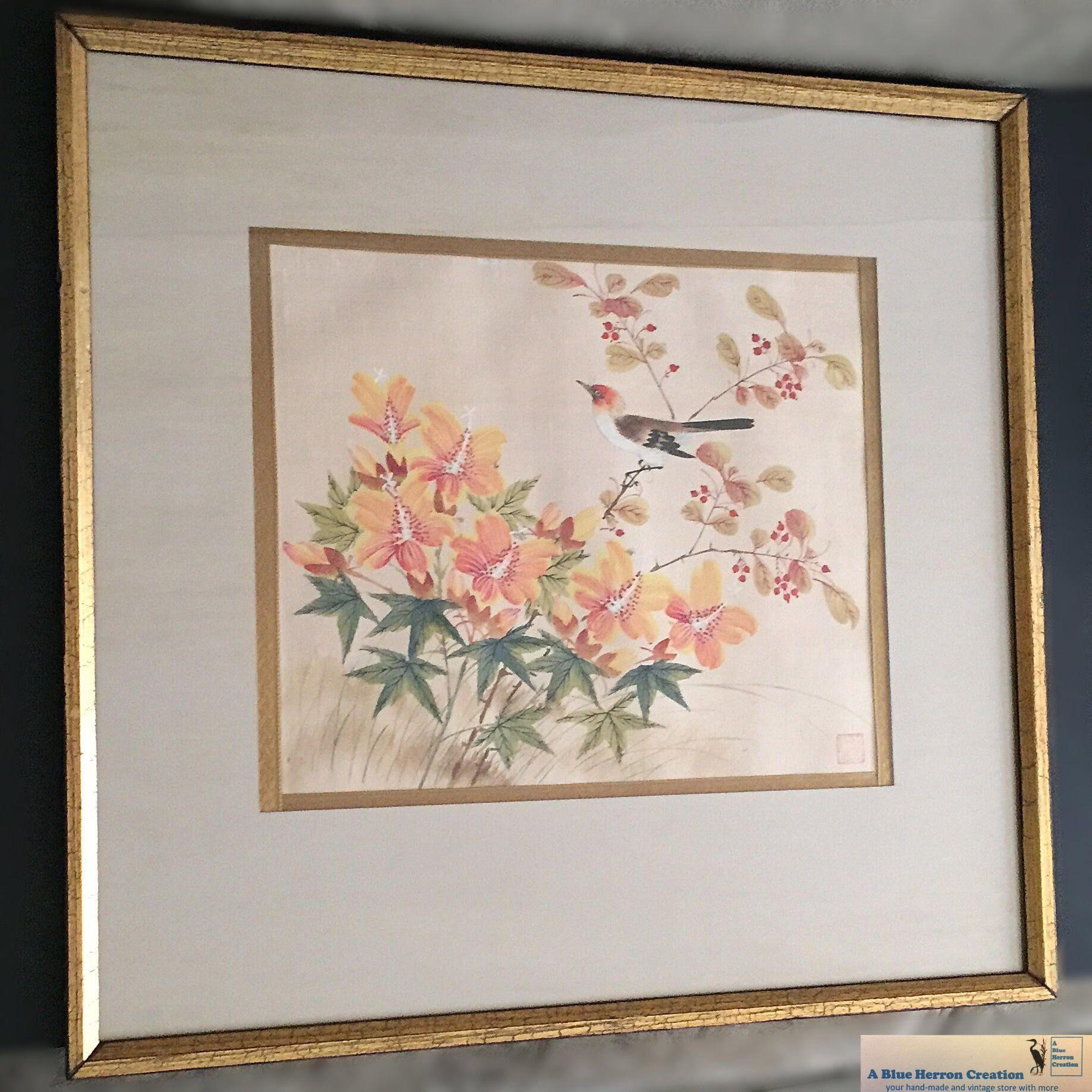 Vintage: Watercolor Silk Oriental Framed Wall Hanging, Mid Century Oriental/Asian  Artwork,