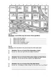english worksheet giving directions vocabulary. Black Bedroom Furniture Sets. Home Design Ideas
