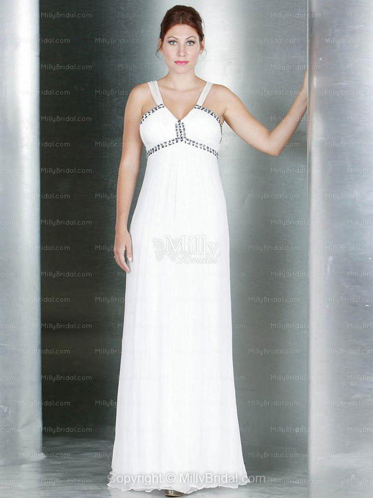 A-line Straps Chiffon Floor-length White Beading Evening Dress