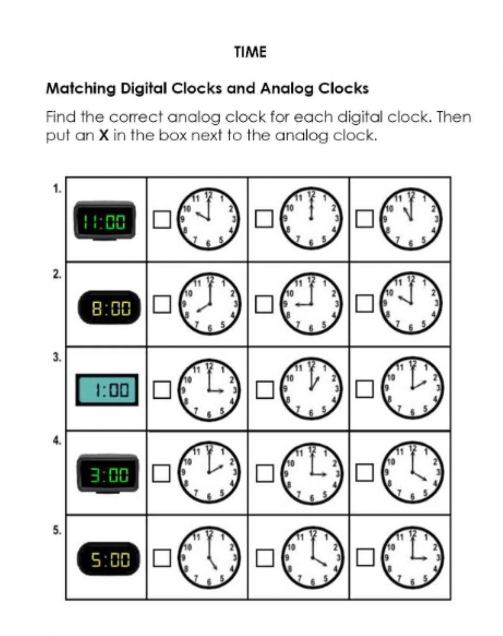 Analogue and Digital Clock Worksheets Match Digital and Analog Clocks  Interactive Worksheet   Clock worksheets [ 1265 x 1000 Pixel ]