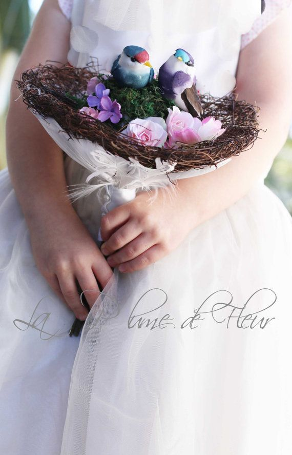 Rustic, woodland flowergirl bouquet. Alternative bouquet Birds nest ...