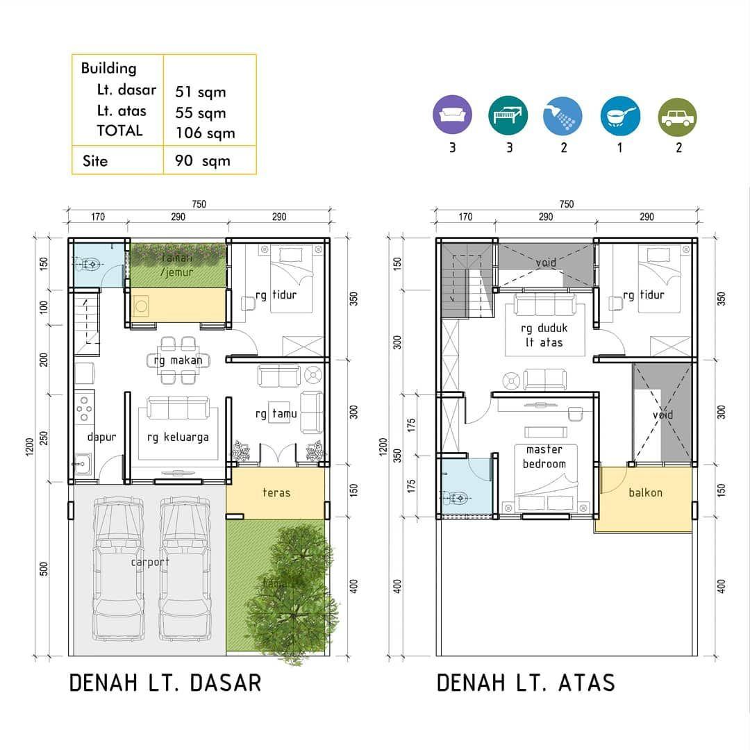 Rumah 2 Lt Di Tanah 90 M2 Denahrumah Desainrumah Arsitek Iderumah Idedesain Archite Home Design Floor Plans Floor Plan Design Bungalow Design