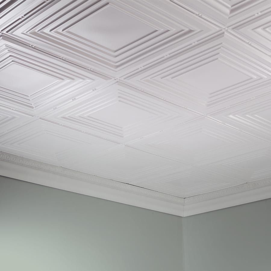 Fasade Ceiling Tile 2x4 Direct Apply Traditional 3 In Matte White In