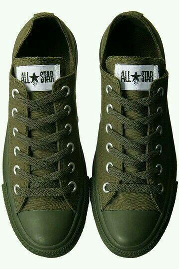 66fc6e96be3b Army green Converse.