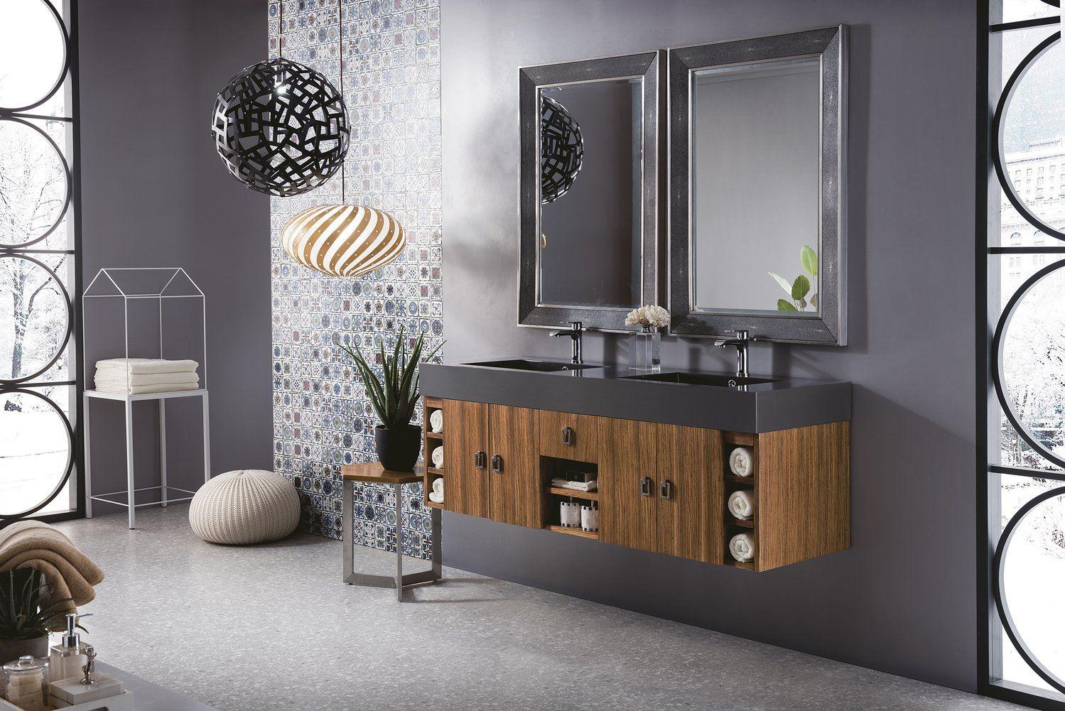 59 Tiburon Double Bathroom Vanity Natural Zebrano Wood Double