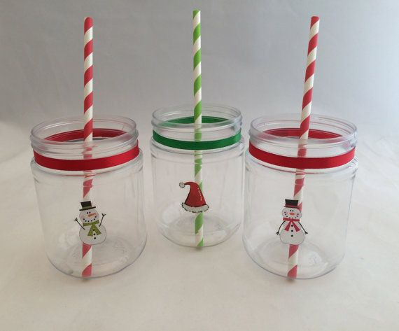 Christmas Cup Or Holiday Treat Jar Plastic Mason Jar Drink Etsy Plastic Mason Jars Holiday Mason Jar Christmas Mason Jars