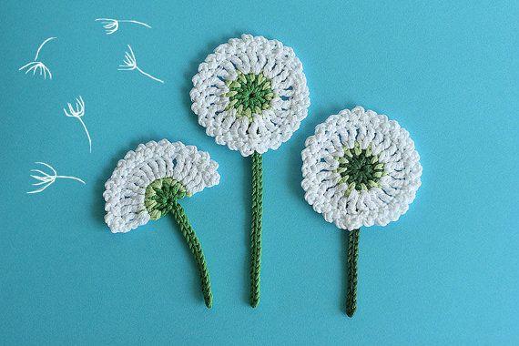 Dandelion flower applique crochet pattern bloom collection by crochet flower pattern dandelion applique crochet embellishment diy flower tutorial diagram and photo ccuart Image collections