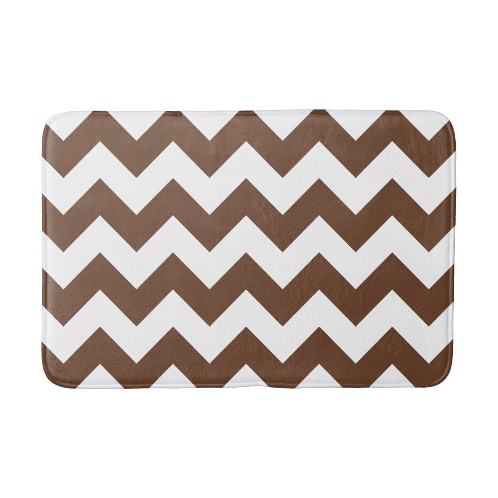 Brown And White Chevron Print Bath Mat Bath Mat Chevron Bath