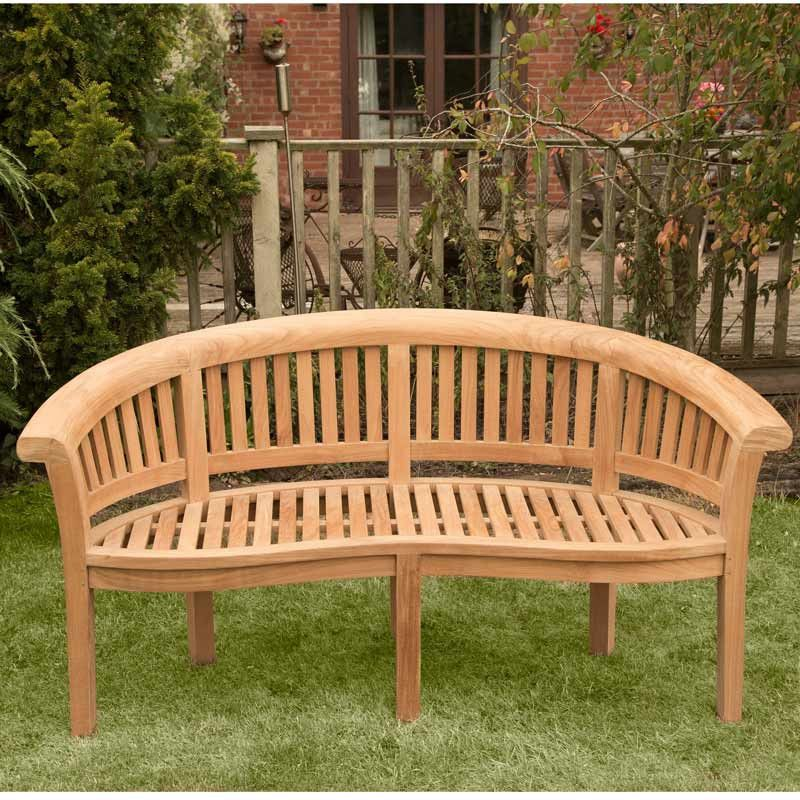 Brackenstyle Windsor Curved 3 Seater Teak Bench Garden Bench Seating Outdoor Furniture Bench Bench Curved Bench