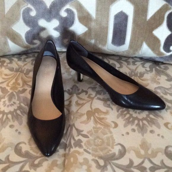Franco Sarto Size 8 Black Pumps Worn twice & I had to catch a heel in a brick!! Size 8 Low heel black pump. I added heel grabs in the back because they didn't fit me correctly. Make me a reasonable offer!!! Franco Sarto Shoes Heels