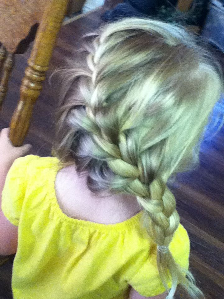 A French braid to the side on my little cousin. They are very cute on little girls!