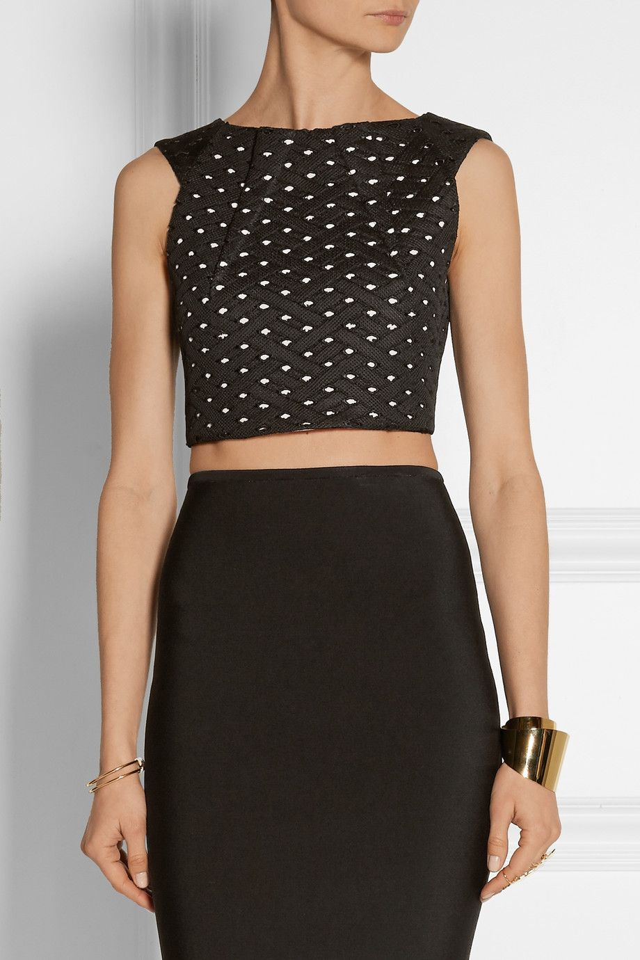 Shop on-sale Roland Mouret Kerme cropped embroidered mesh top. Browse other  discount designer Tops & more on The Most Fashionable Fashion Outlet, ...