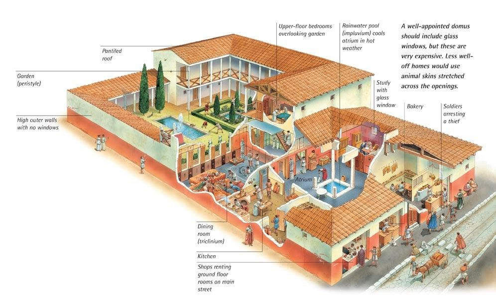 Cutaway illustration of a domus and its tabernae history for Roman architecture house design