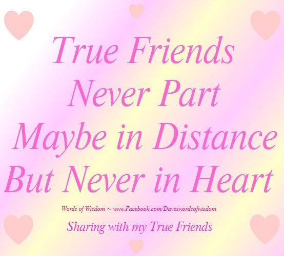 True friends never part - maybe in distance but never in heart