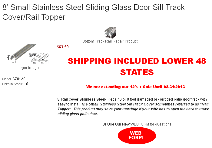 8 Small Stainless Steel Sliding Glass Door Sill Track Coverrail