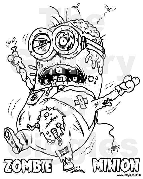 Zombie Minion Printable Colouring Page by GalleryofGiggles ...