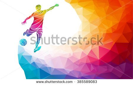 Creative Soccer Player Football Player Kicks The Ball Colorful Vector Illustration With Background Or Banner Templat Football Players Soccer Players Football