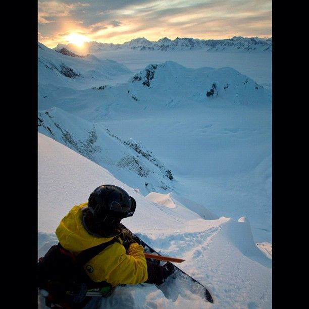 """@tetongravity's photo: In this shot, Jeremy Jones takes in the view before dropping into a steep line in Alaska. Photo Chris Figenshau"""""""