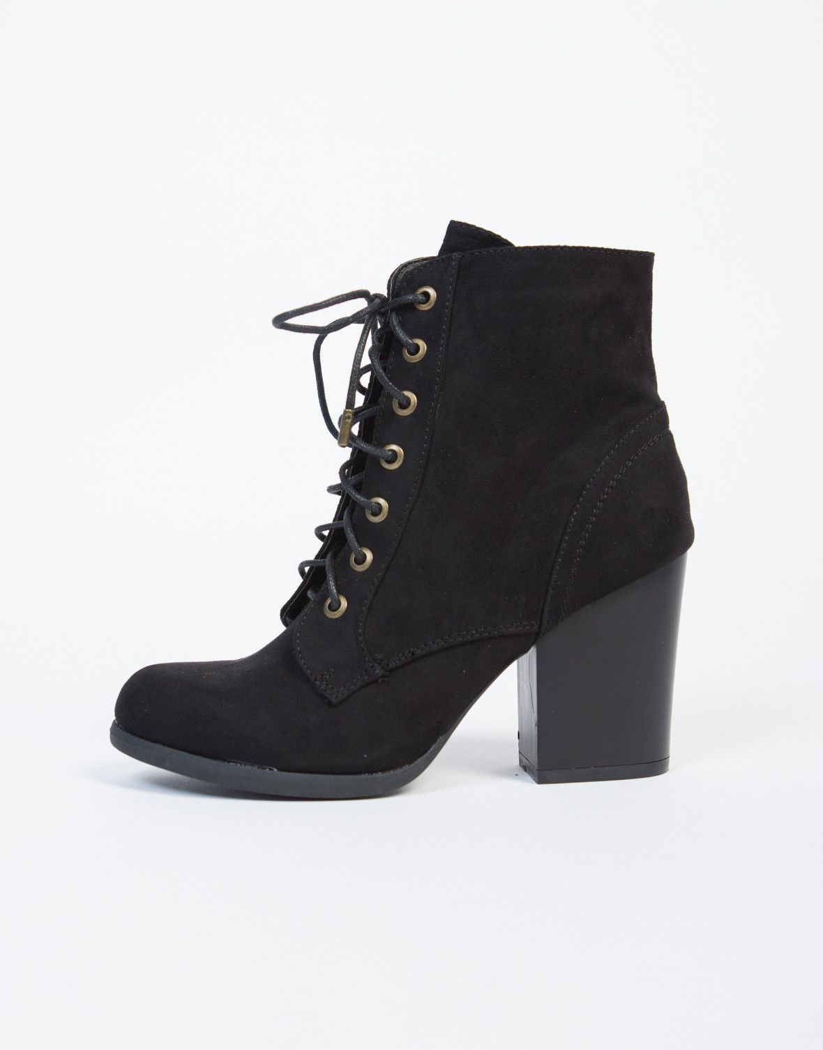 Lace-Up Wooden Heel Ankle Boots | Boots