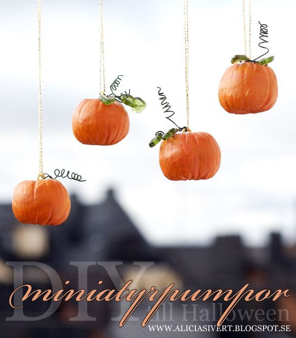 DIY clay miniature pumpkins for Halloween, tutorial by Alicia - halloween do it yourself decorations
