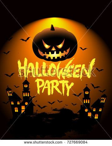 Happy Halloween Poster, night background with creepy castle and - halloween poster ideas