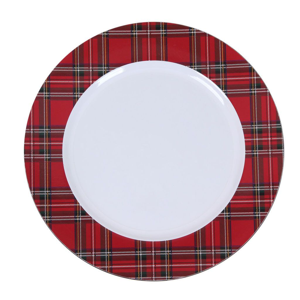 Purchase the plaid print charger by ashland at michaels create