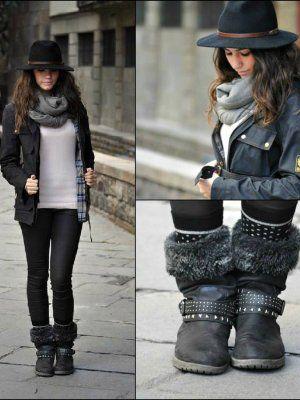 Undiacualquieramoda Outfit Casual Bufanda Cu00f3modo Urbano Shopping Botas Sombrero Fru00edo Calcetines ...