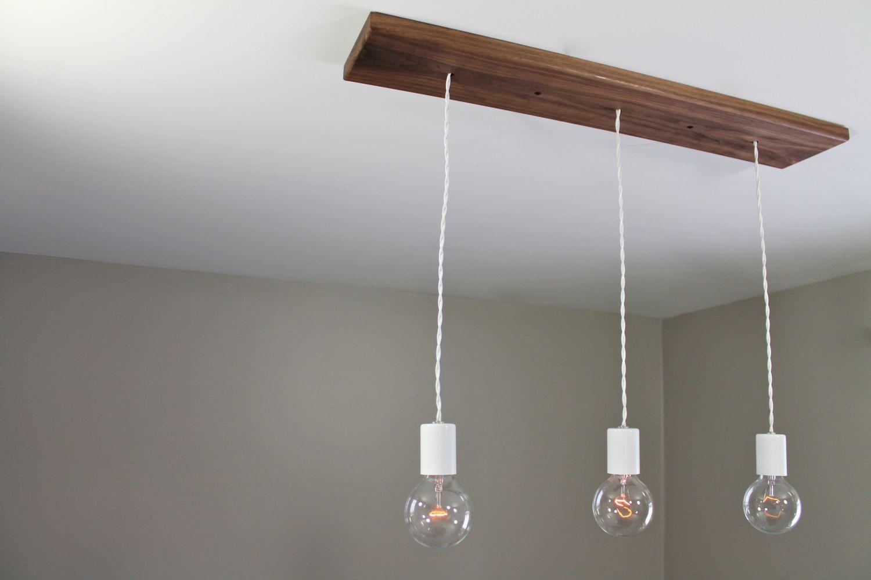 Three Bare Bulb Chandelier Light Fixture With Wood Canopy Triple Edison Bulb Ceiling Lighting Exposed Bulb Pendant Lamp W Canopy Lights Bulb Light Fixtures