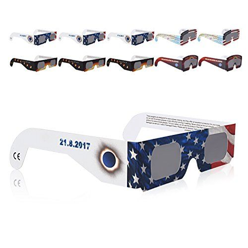 Solar Eclipse Glasses CE And ISO Certified 10 Pack
