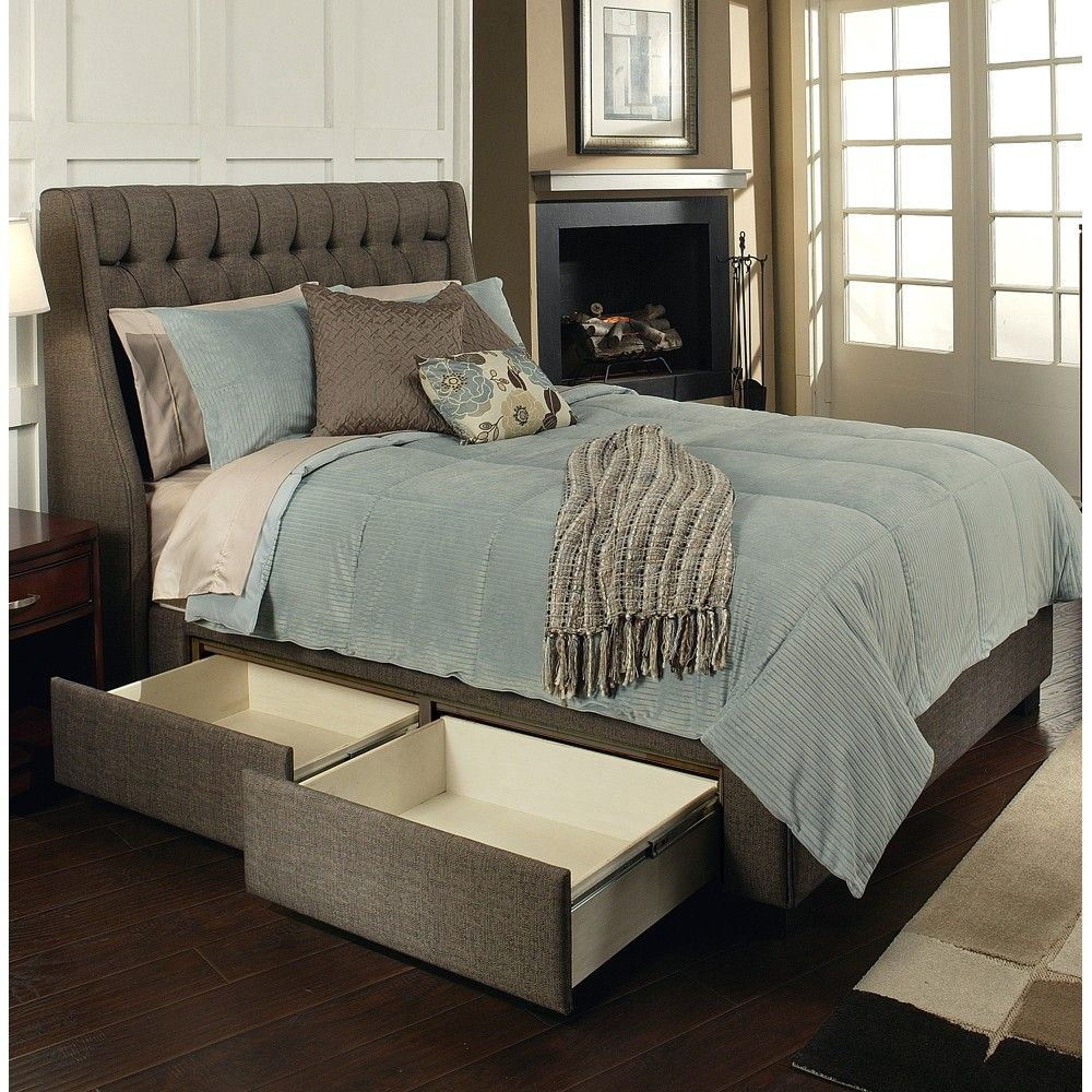 Cambridge fabric upholstered storage bed in charcoal brown for Upholstered bed with drawers