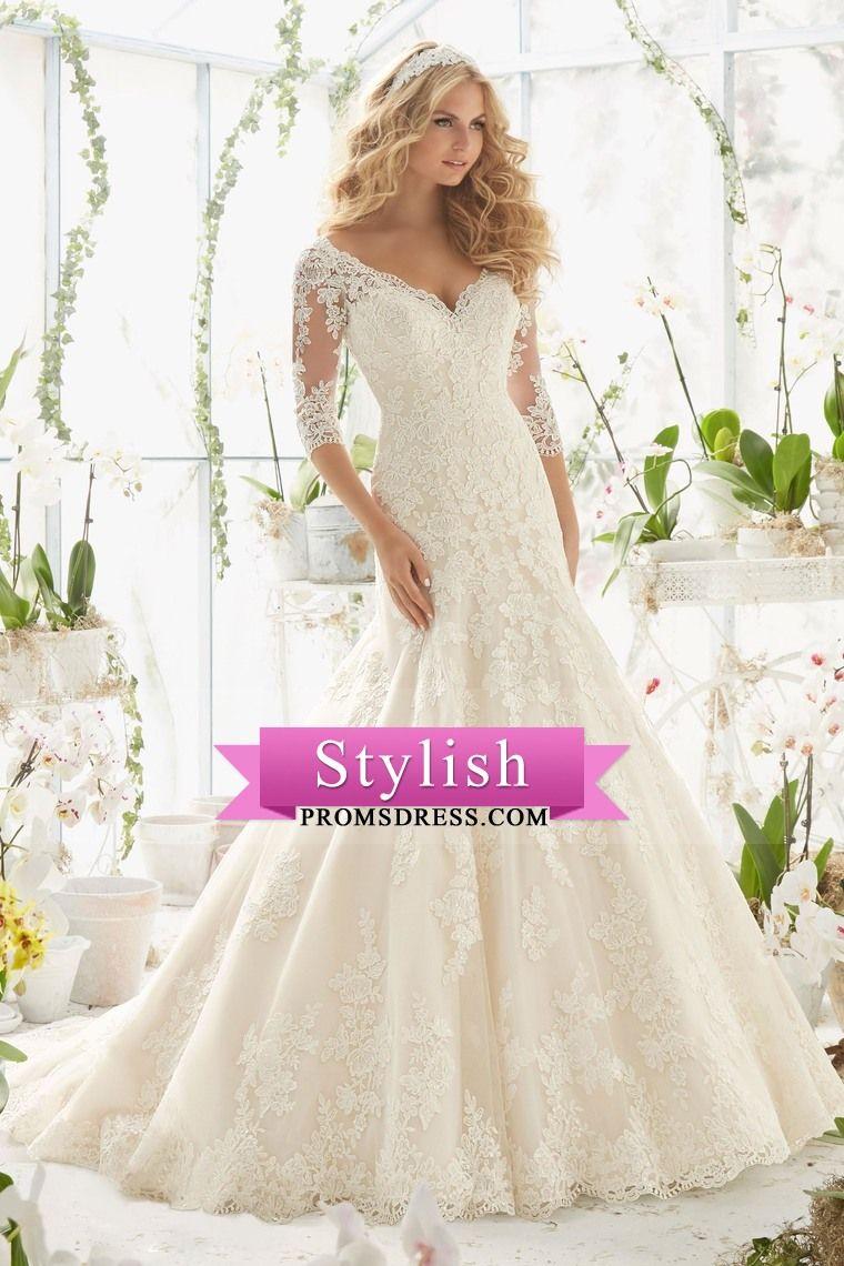 mermaid wedding dresses vneck sleeves court train tulle v