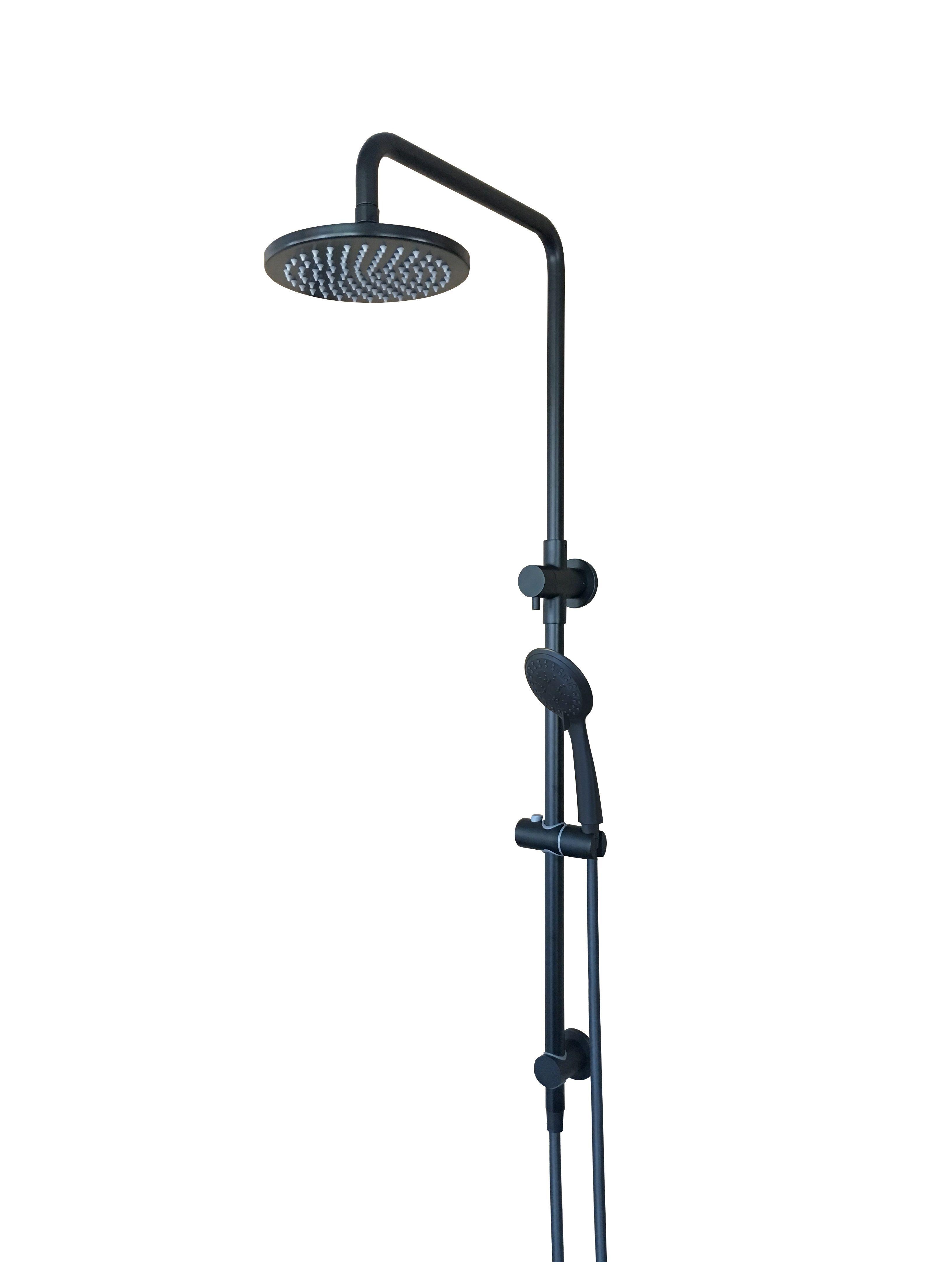 Round 2 In 1 Matte Black Shower Rail Set Mz0704 Black Shower Matte Black Black Taps