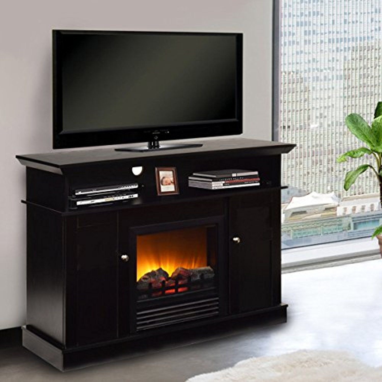 tangkula fireplace tv stand 42a home living room wooden media tv