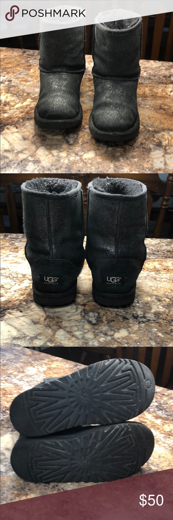 UGGS black glitter boots USA 4 UGGS black glitter boots USA 4  Authentic UGG boots. Good condition. The outside has some fading of leather. No rips, tears or significant damage seen. Normal wear due to use. Soles are in good condition but they do show some wear. Please see pictures UGG Shoes Boots #uggbootsoutfitblackgirl