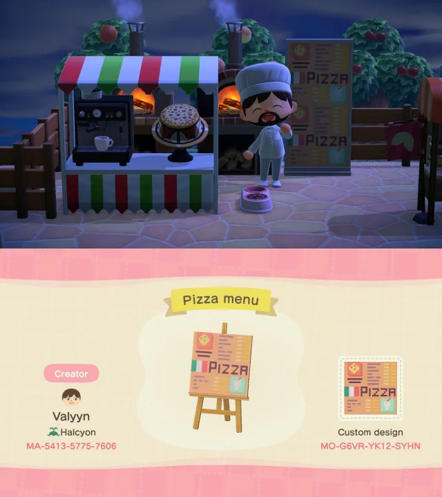 I made a pizza menu panel for my cafe! 🍕 ACQR in 2020