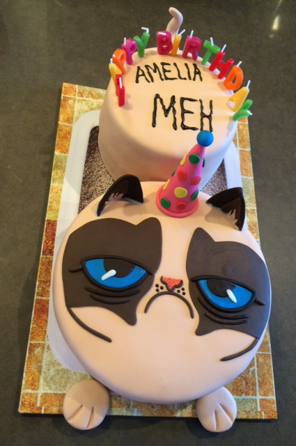 Grumpy Cat cake for Amelias birthday she loved it Said it was my