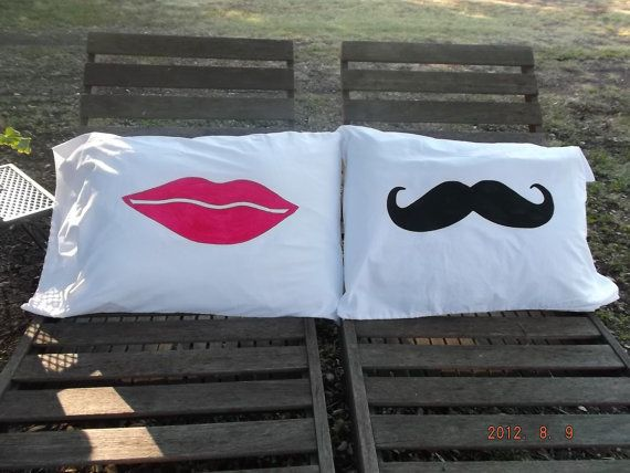 Mustache and Lucious Lips Handpainted on Standard by TreasuresShop, $28.00