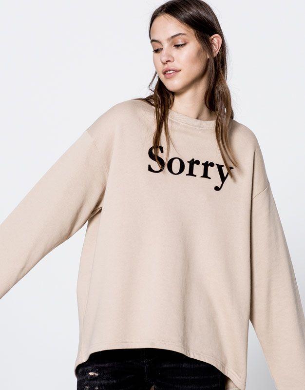 Pull Bear - mujer - ropa - sudaderas - sudadera oversize texto sorry -  arena - 09590347-I2016 3cc0ad473712