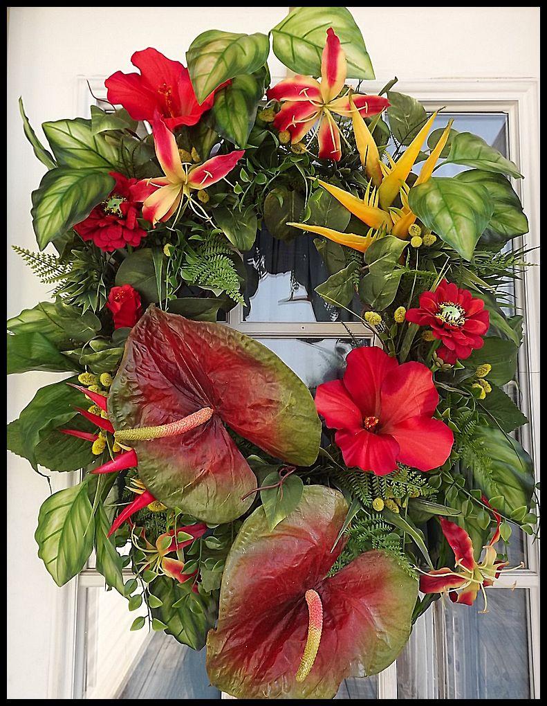 Tropical Summer Wreath Wreath Ideas Wreaths Summer Door Wreaths