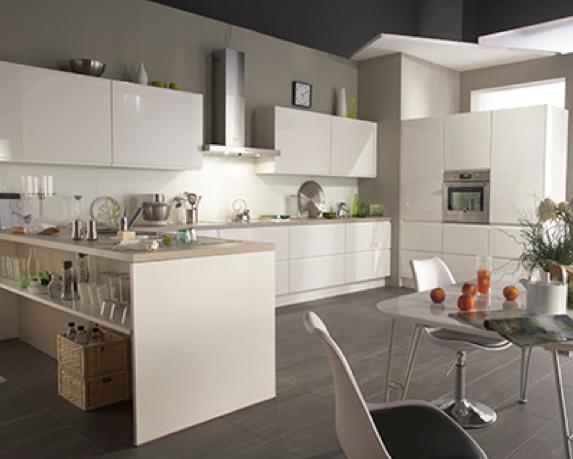 cuisine equipee facades blanc laque
