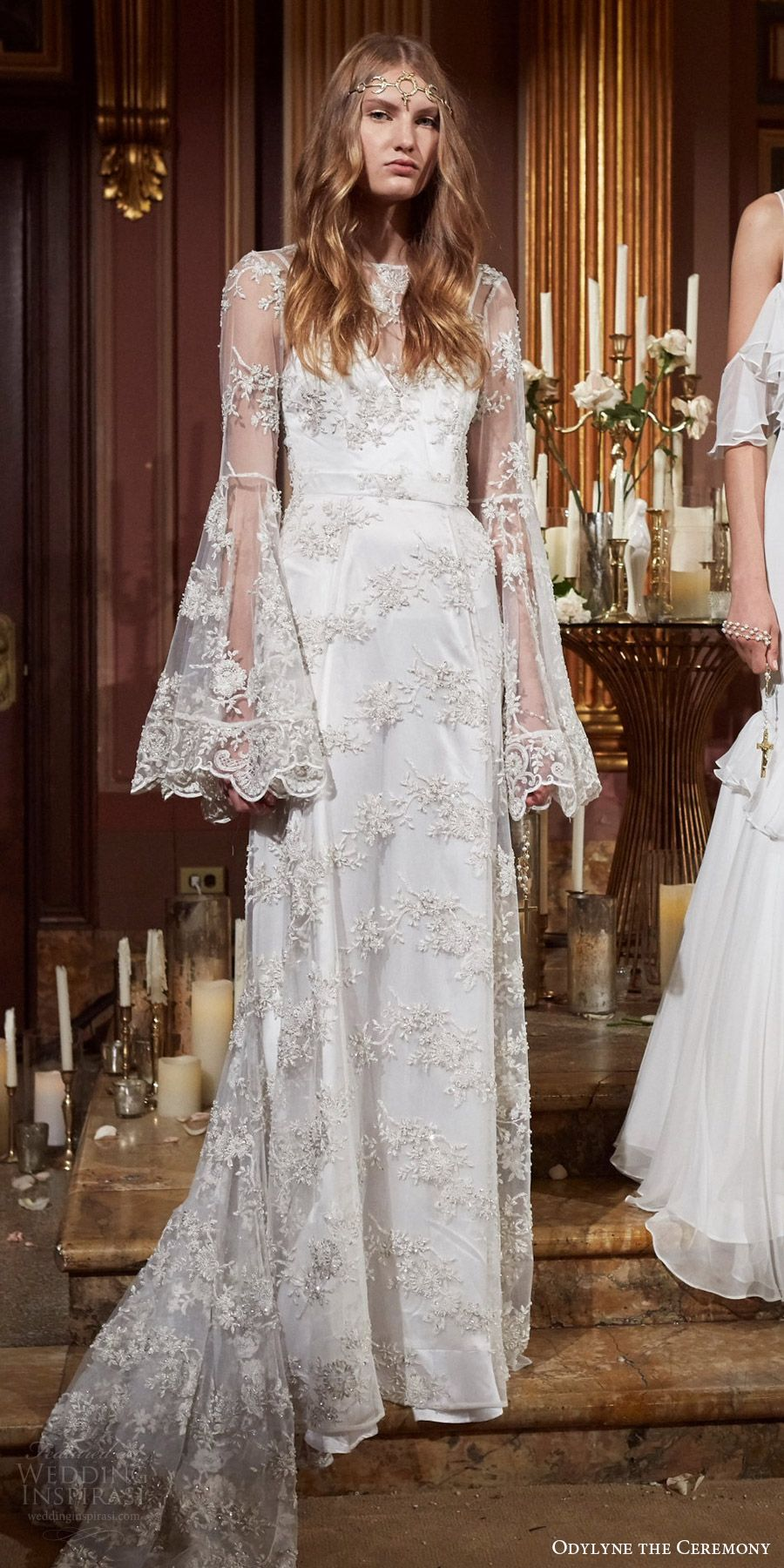odylyne the ceremony fall 2017 bridal illusion long flare sleeves illusion jewel neck sweetheart lace a line wedding dress (look 14) mv train