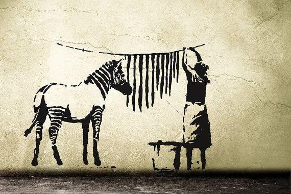 Banksy Decal Zebra Stripes Washing Laundry Street Art Wall Decal