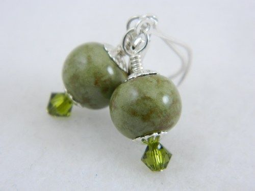 Handmade olive green and brown porcelain bead earrings, simple, sterling silver.  I made these earth tone earring beads out of some of my olive green colored porcelain clay.  #OOAK #handmade #earrings #gift