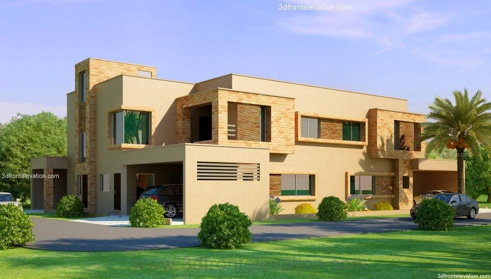 Lahore beautiful house 1 kanal modern 3d front elevation for Indian bungalow house designs