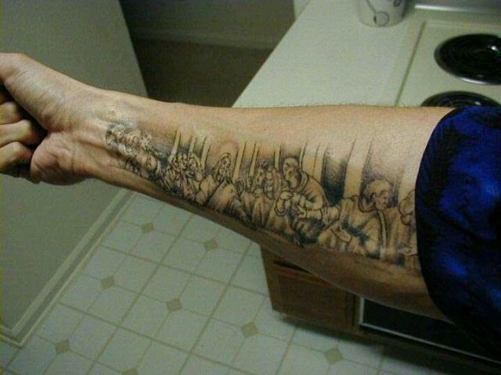 """Last Supper"" religious tattoo."