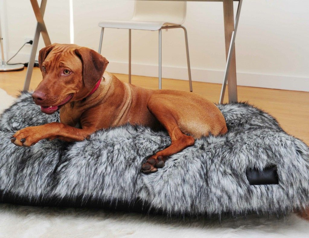 This Silver Fox Dog Bed is made from fake faux fur which