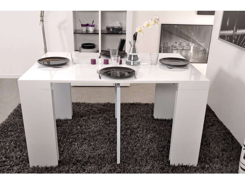 console extensible 4 allonges quatri coloris blanc vente. Black Bedroom Furniture Sets. Home Design Ideas