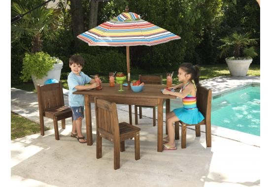 Table Stacking Chairs W Striped Umbrella Toddler Furniture